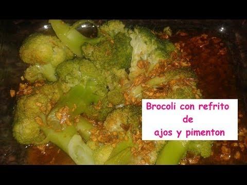 Brocoli con refrito de ajos y pimenton