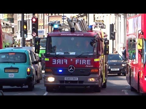 London Fire Brigade - Fire Engine Responding into Borough Market
