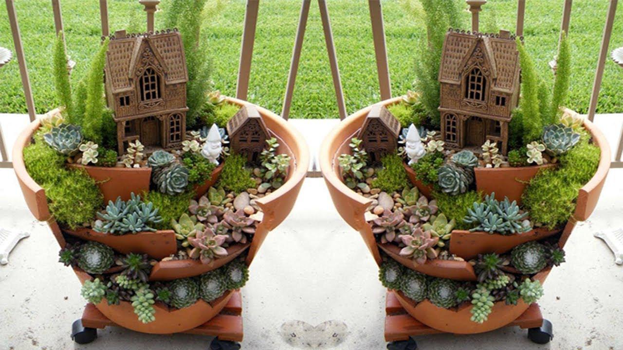 Creative Ideas To Make Fairy Mini Garden From Broken Pots