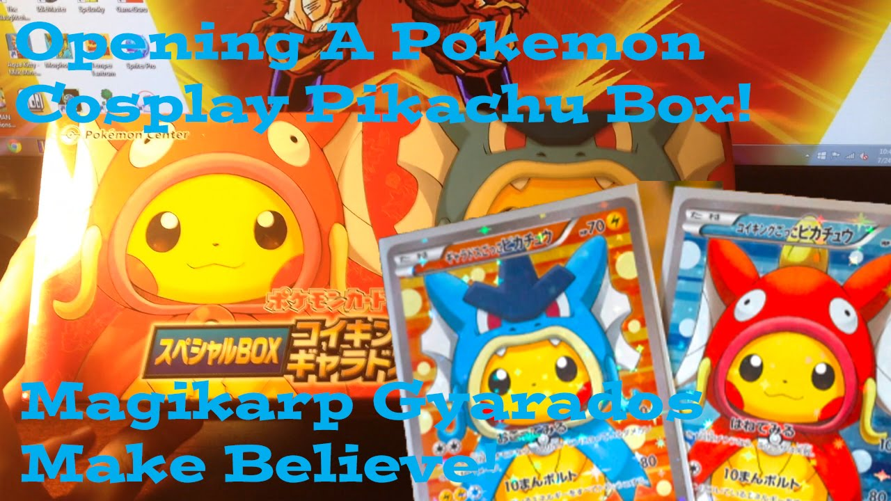 Pokemon Cards Cosplay Pikachu Box Opening Magikarp Gyarados Make