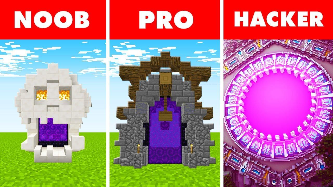 Minecraft NOOB vs. PRO vs. HACKER :  GIGANTIC NETHER PORTAL in Minecraft!