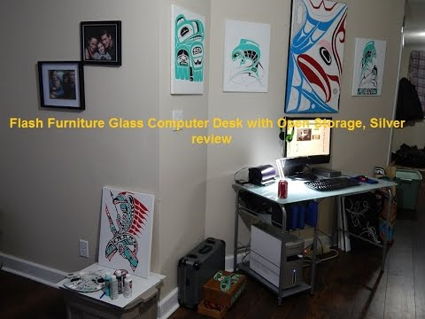 Exceptionnel Flash Furniture Glass Computer Desk With Open Storage, Silver Review