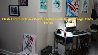 Flash Furniture Glass Computer Desk with Open Storage, Silver review
