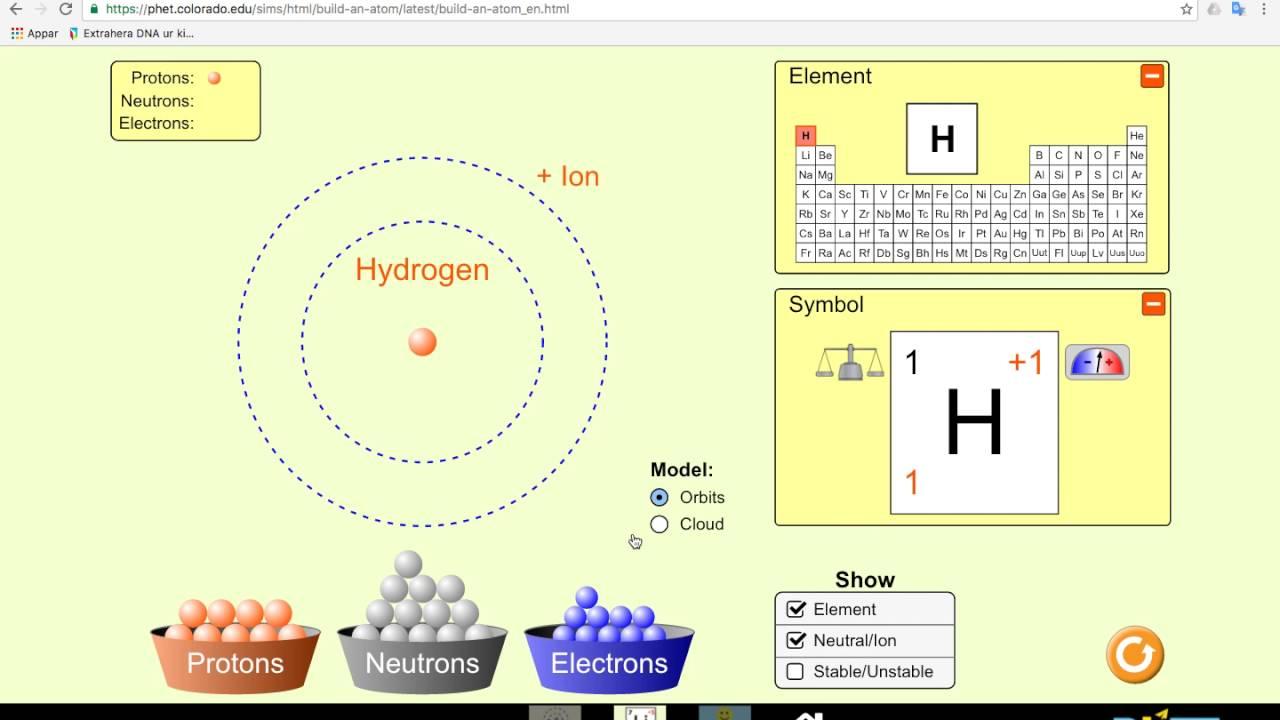 Bygg en atom Build an atom phet colorado   YouTube