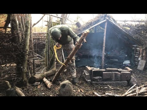 5 nights solo debris shelter camping cooking and debris village building