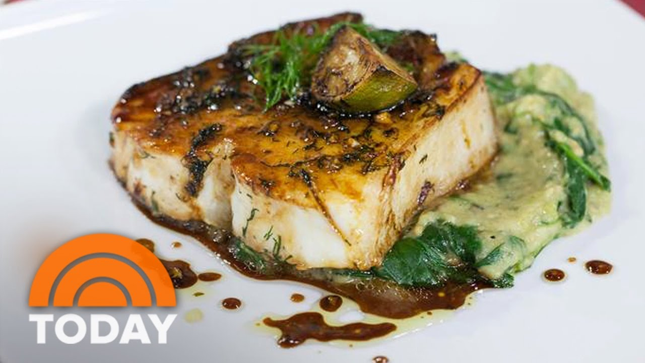 Halibut With Charred Eggplant And Spinach: Marcus Samuelsson Makes It Easy | TODAY