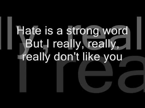 Plain White T's - Hate (I Really Don't Like You) lyrics