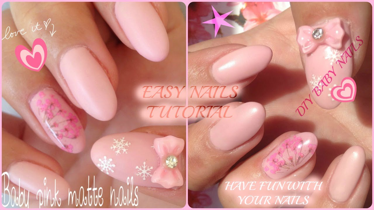 How to: Baby Pink Matte Nails - YouTube