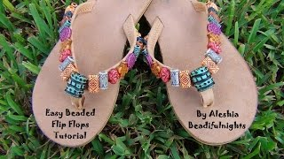 Easy Beaded Flip flops Tutorial