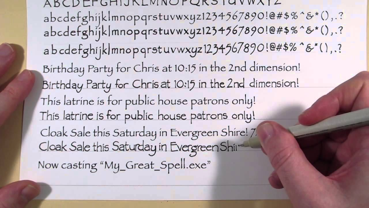 Learn to write in different fonts: Papyrus