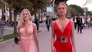 EXCLUSIVE: Kimberly Garner walking down the croisette in a beautiful red dress in Cannes