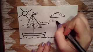 Lunch Box Love Note...How to Draw a Sailboat.