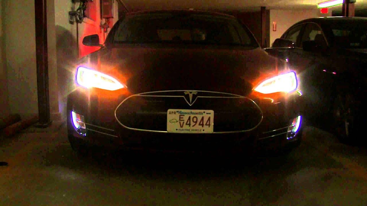 Car Parking Wallpaper Tesla Model S Exterior Lighting Youtube