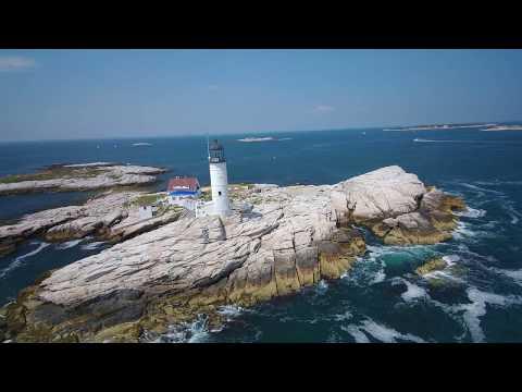 Drone Flight: Isles of Shoals Light, White Island, Isles of Shoals, Rye, New Hampshire