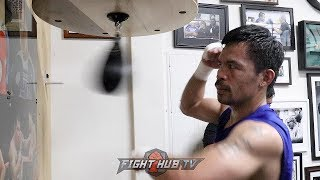 MANNY PACQUIAO GRINDING ON THE SPEED BAG FINISHING OFF WORKOUT FOR KEITH THURMAN