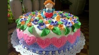 """Торт """"Кукла с Цветами"""" из Сахарной Мастики"""