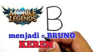 KEREN, cara menggambar huruf B menjadi BRUNO mobile legend / how to draw Bruno mobile legend