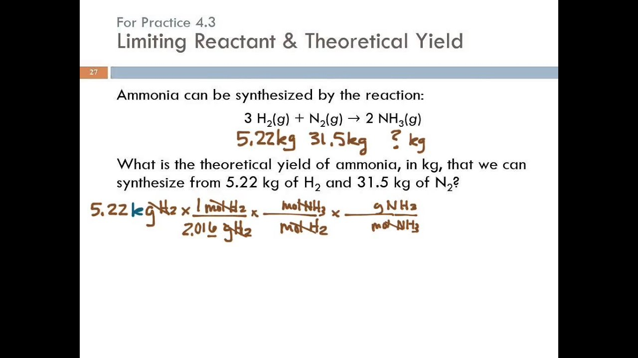 4 3 Limiting Reactant Theoretical Yield Amp Percent Yield