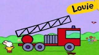 Cartoon for kids - Louie draw me a Fire Truck HD | Learn to draw