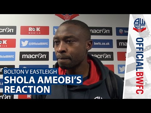 BOLTON V EASTLEIGH | Shola Ameobi's reaction