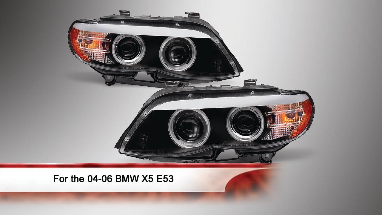 0406 BMW X5 E53 CCFL Halo DRL LED Dual Projector Headlights  YouTube