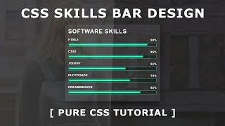 Pure CSS Skills Bar Design - Horizontal Bar Chart with CSS - Html5 CSS3 Tutorial