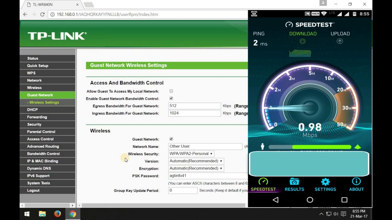 TP-Link Router set speed limit for other wifi users (guest network wireless  settings)