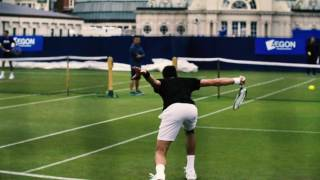Novak Djokovic hits the courts at the Aegon International Eastbourne