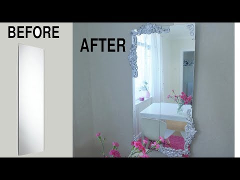 CHEAP MIRROR MAKEOVER TO ORNATE WALL MIRROR LOOKS RICH