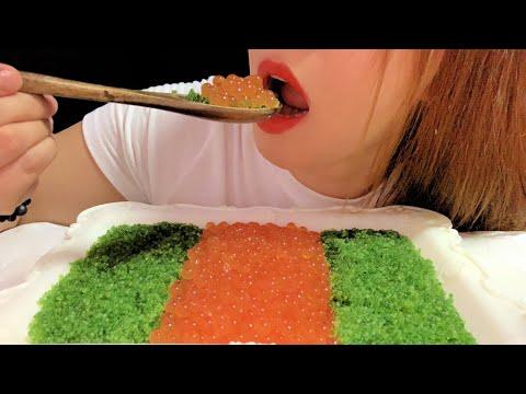 ASMR GREEN TOBIKO EGGS ( FLYING FISH ROE ) + SALMON ROE ( IKURA ) EATING SOUND I MUKBANG I Mai —ASMR