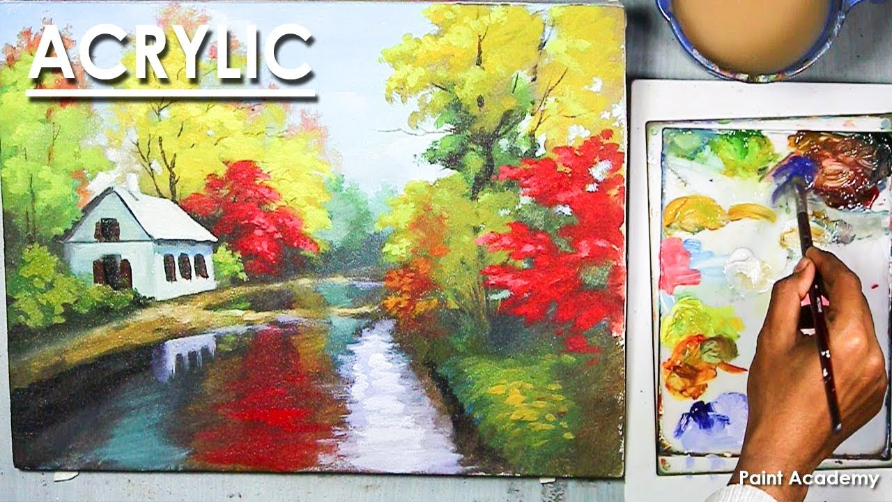 Acrylic Painting A Spring Landscape Step By