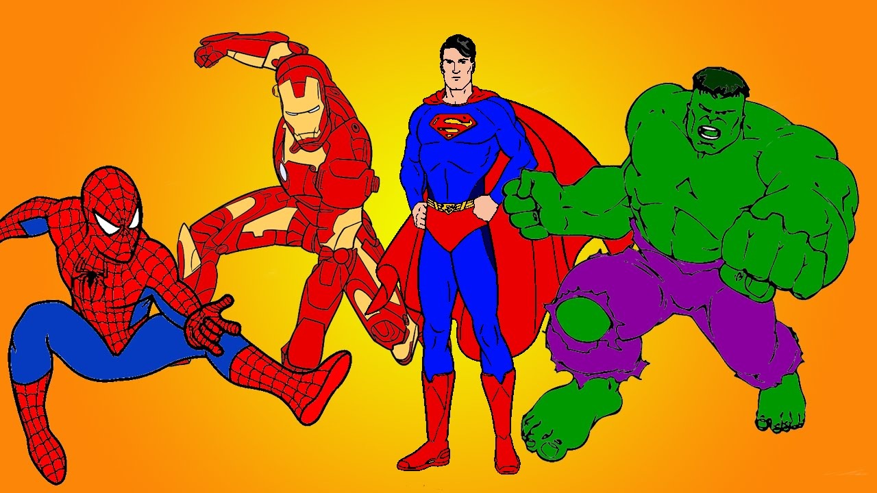 spiderman vs superman vs hulk vs ironman coloring book youtube