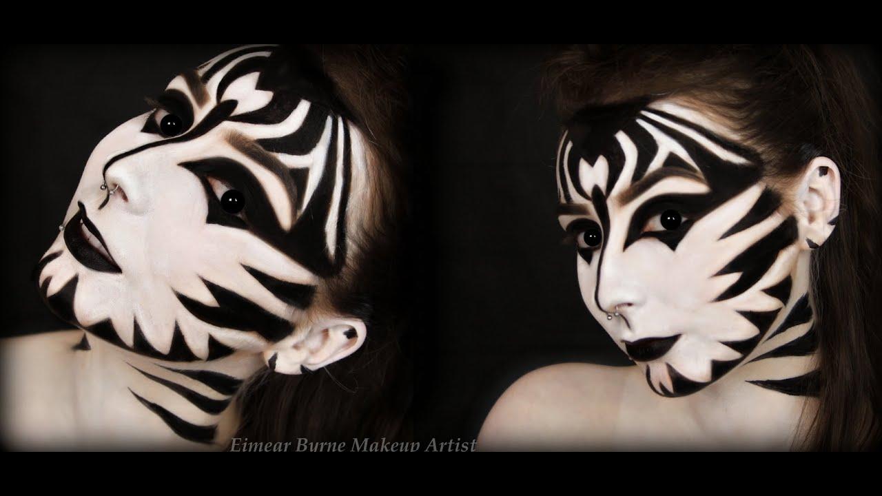zebra halloween makeup youtube. Black Bedroom Furniture Sets. Home Design Ideas