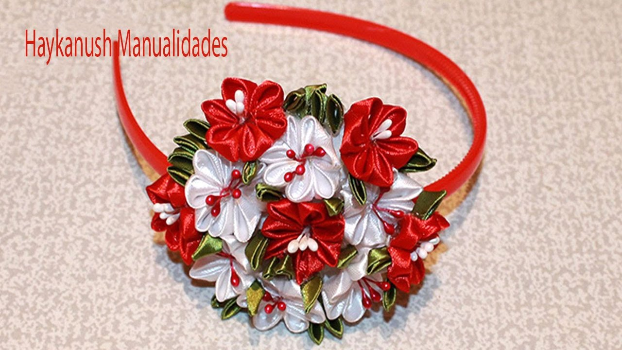 Tutorial como hacer diademas con cintas flores paso a paso - Como hacer diademas ...