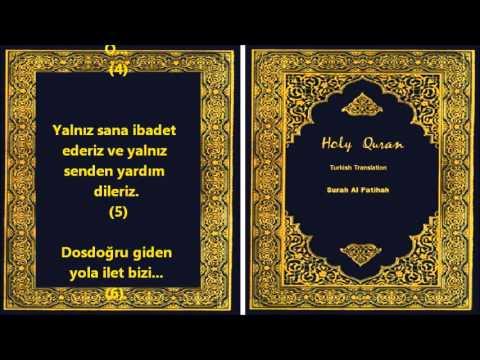 Quran : Surah Al Fatihah Recitation with Turkish Translation