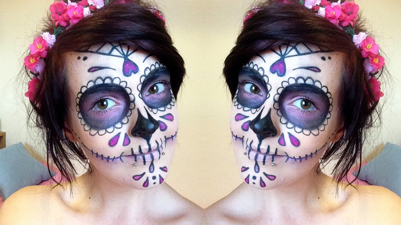 Halloween How To: Sugar Skull Makeup Tutorial ♥ Day Of The Dead ...
