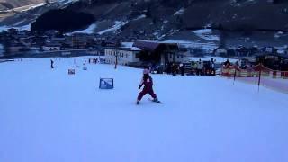 Future Chemmy Alcott? Darcey slalom skiing in Rauris 2011