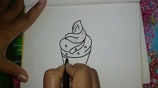 Cómo dibujar un cono de helado de dibujos animados