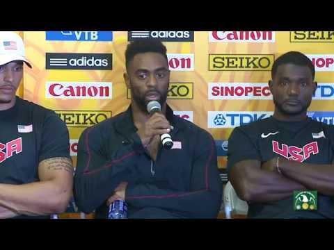 IAAF World Relays 2015  post Mens 4x100m final  USA VS Jamaica  Gatlin VS Bolt team  USA wins