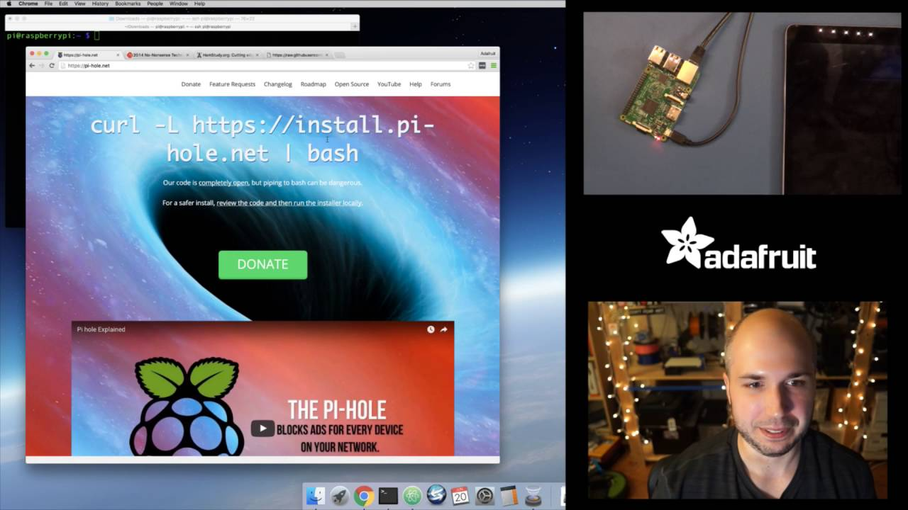 Raspberry Pi Quick Look at Pi Hole ad blocking server with Tony D!  @adafruit #LIVE