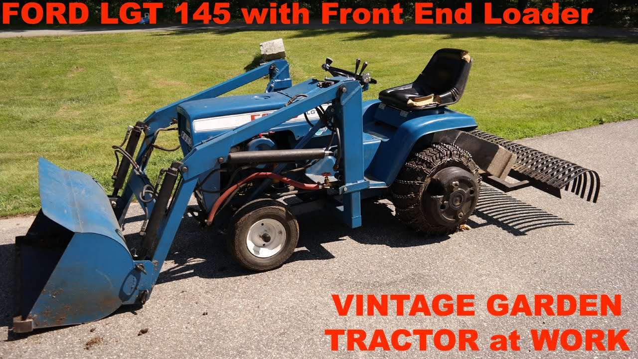 Ford LGT 145 Garden Tractor Front End Loader and Landscape Rake at