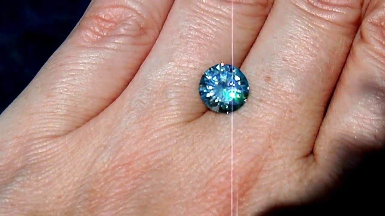 Blue Moissanite 2.28ct Video - YouTube
