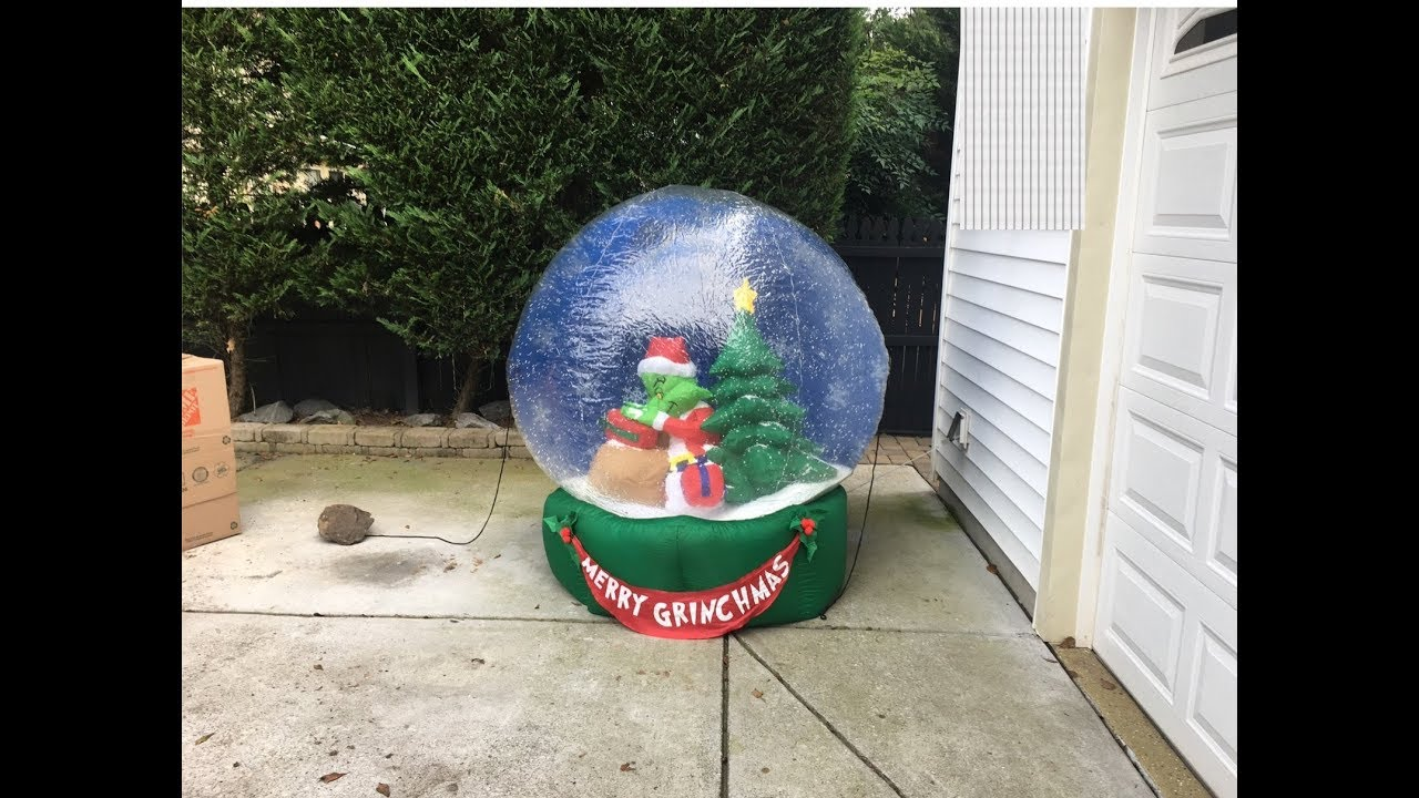 very rare gemmy grinch snowglobe inflatable review christmas inflatable