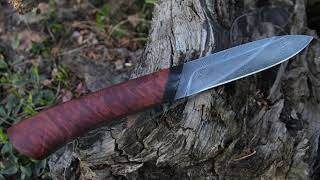 Forging twisted damascus steel knife from old bearing