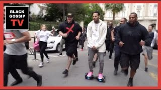 Chris Brown Makes Bodyguards Fans Run After Him On Scooter
