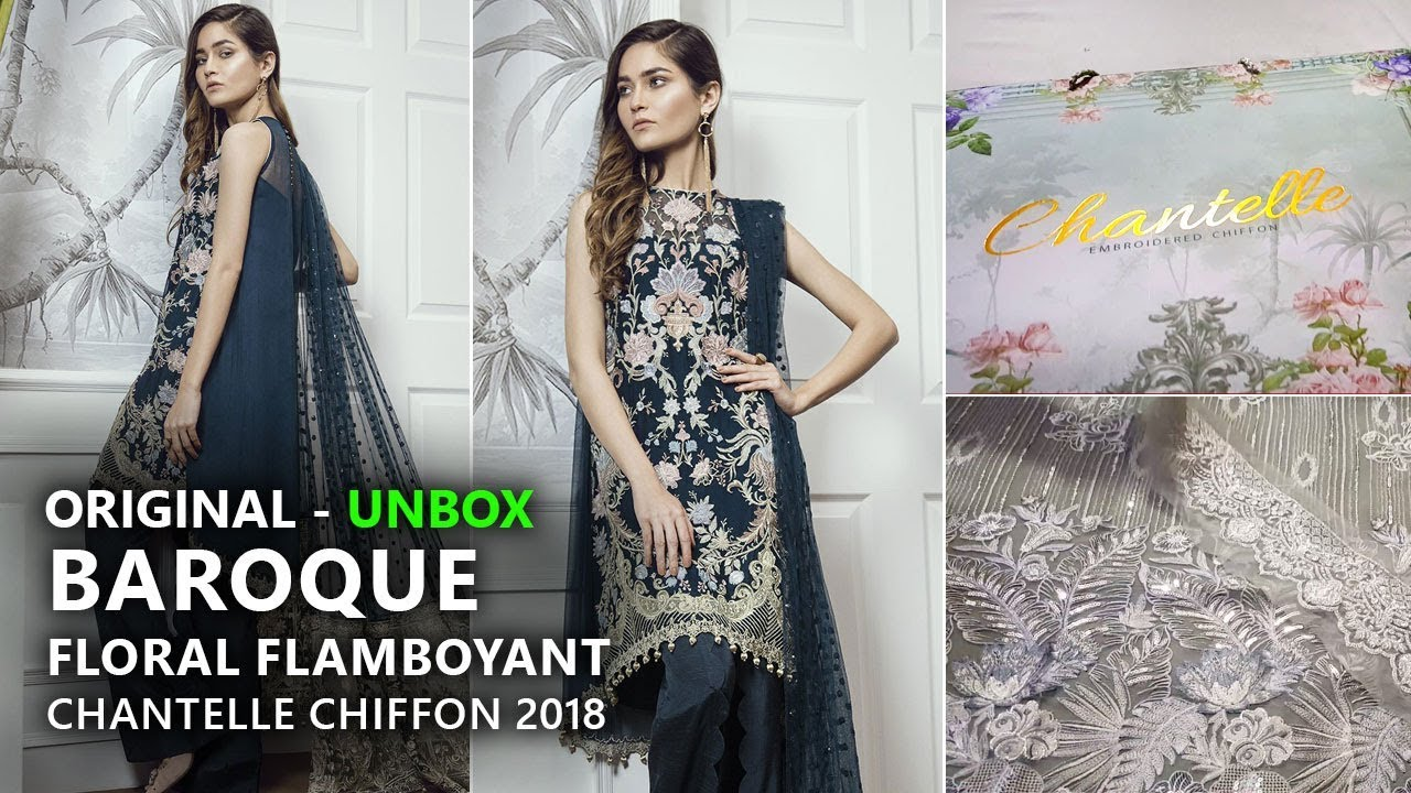 Baroque Chantelle Chiffon Collection 2018 - Unbox Floral Flamboyant Pakistani  Branded Clothes f39676a79