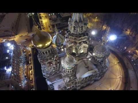 St. Petersburg, Russia - Spilt Blood Church and Kazan Cathedral - DJI Drone  4K