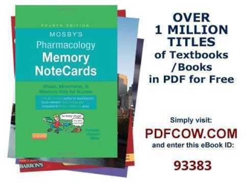 Pharmacology Memory Notecards Pdf