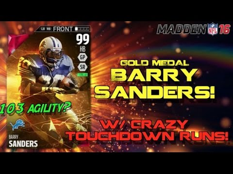 99 Barry Sanders is SUPER FAST! Crazy TD Runs! Madden Ultimate Team 16