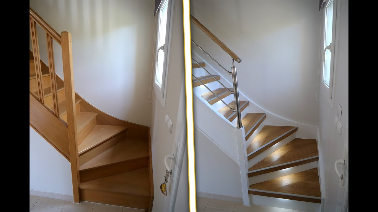 Renovu0027 Escaliers / Présentation Du0027une Rénovation Du0027escalier En Normandie  (habillage Escalier Bois)